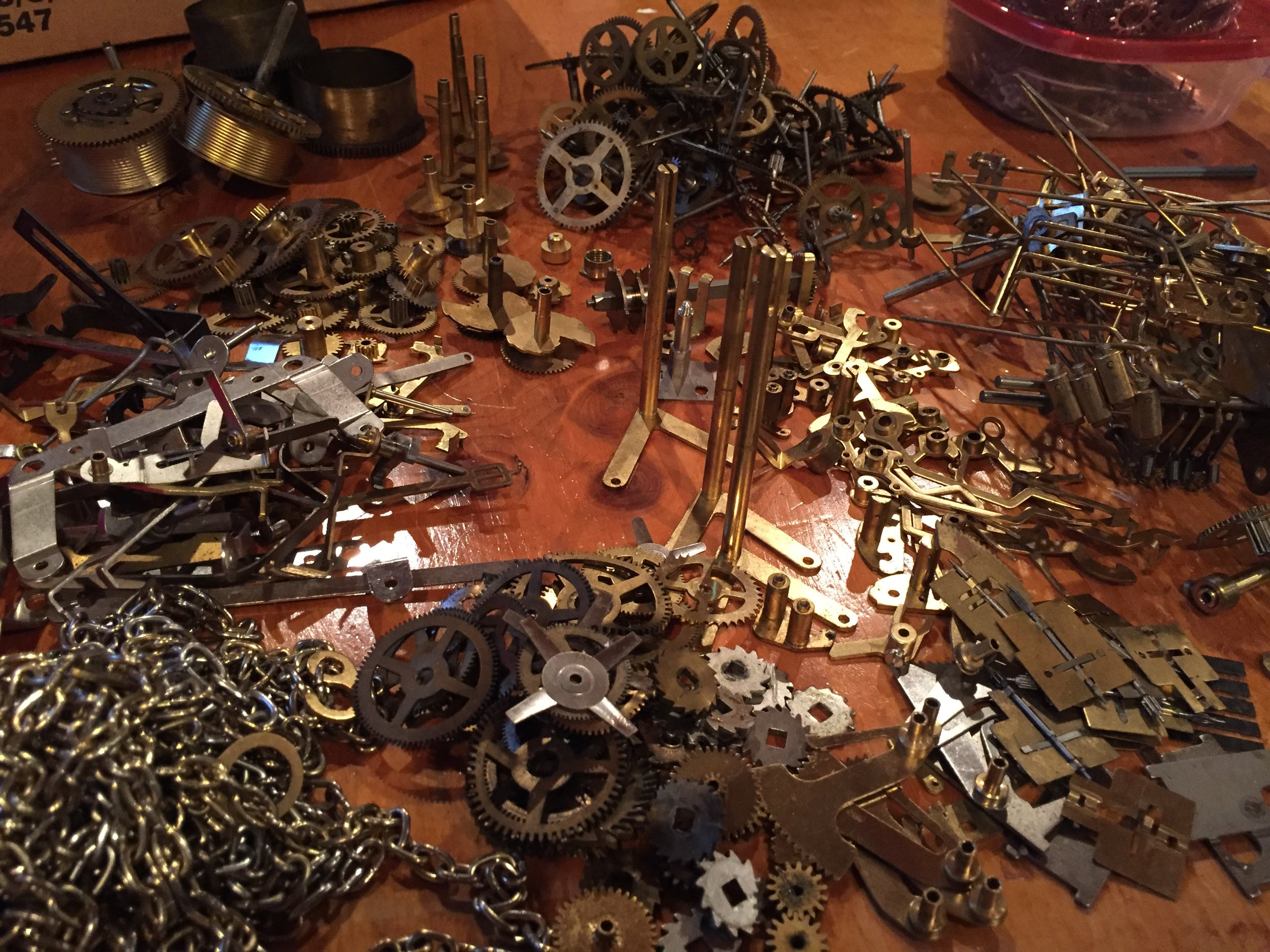 Collection of Clockparts sorted. Photo by Melody Weintraub (2017)