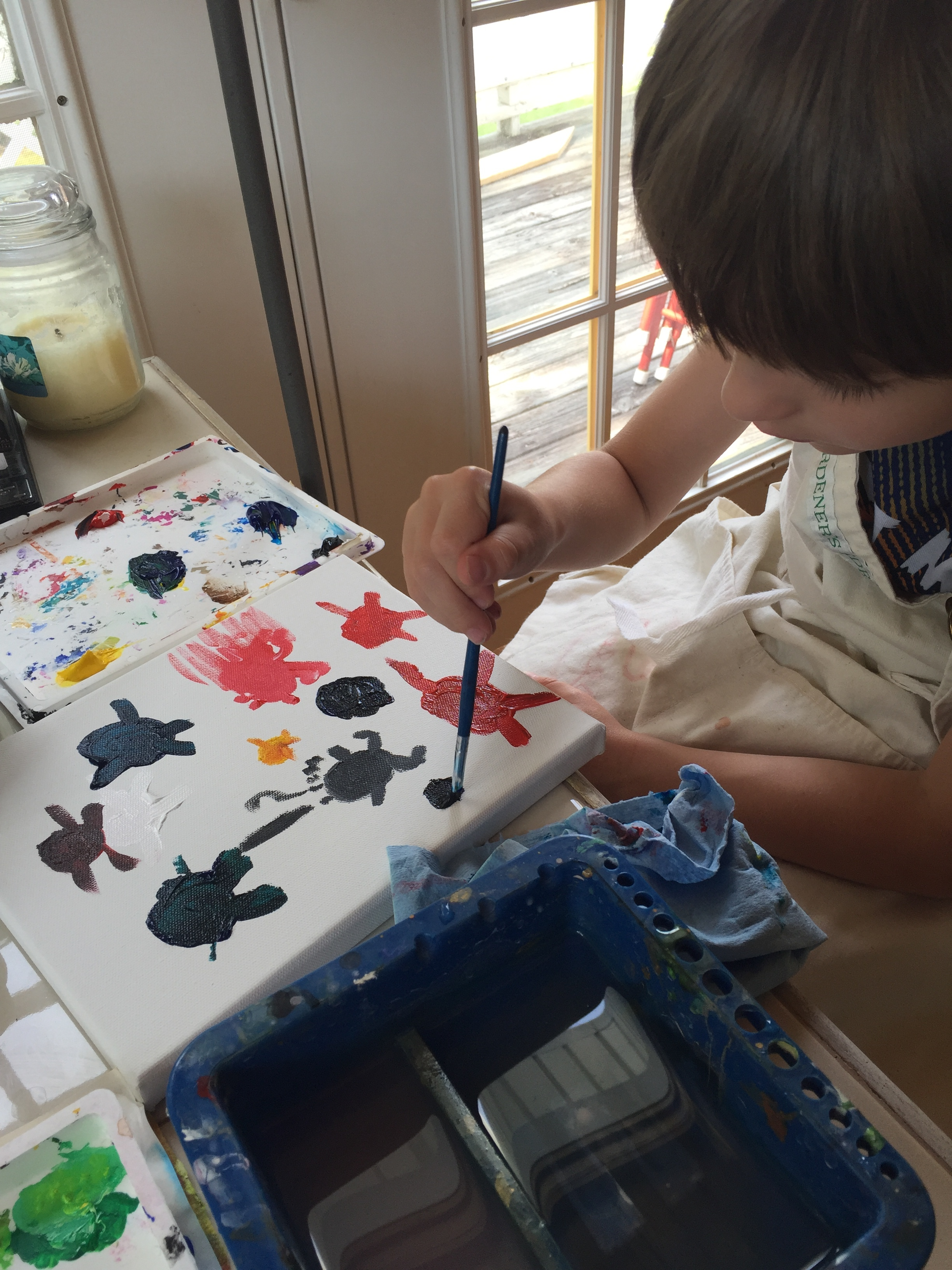 Painting with my grandson. Do not use photo without permission.