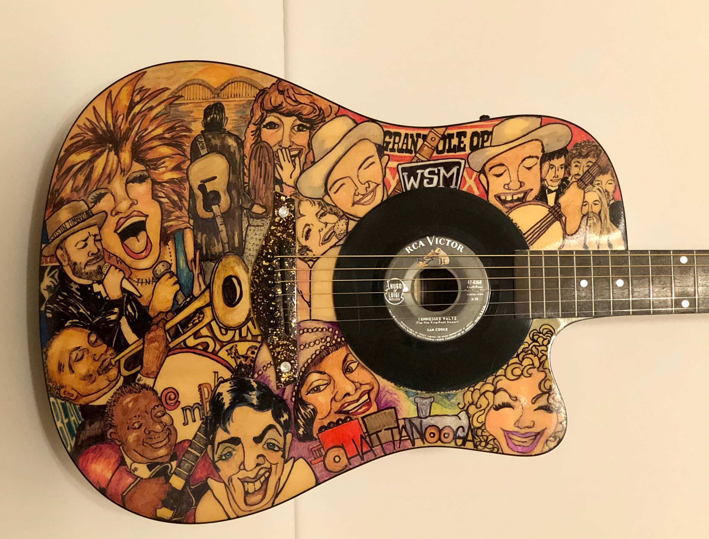 """""""Tennessee Sounds"""" Art Guitar by Melody Weintraub. DO NOT USE WITHOUT PERMISSION"""