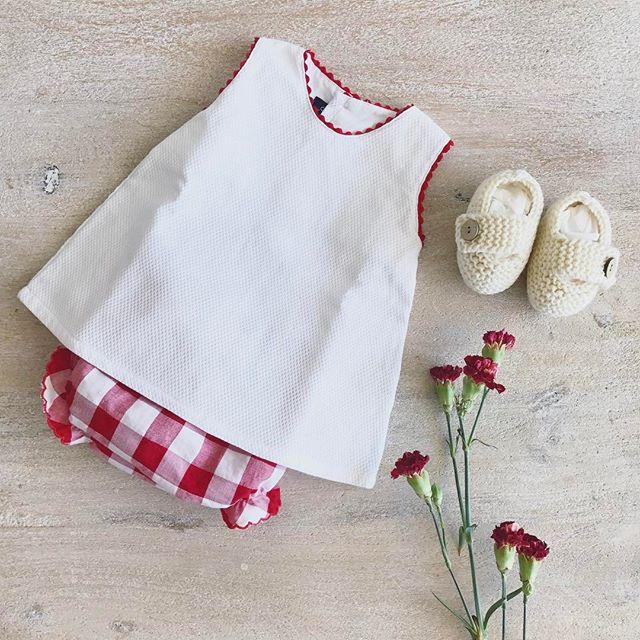 Oh la la! Too cute!  #red #vichy #gingham #summer #baby #BabiesAreBabies #collection #beach #cotton #european #style #fashion #kidsfashion #Handmade #MadeInSpain #melbourne #RowingAndCo