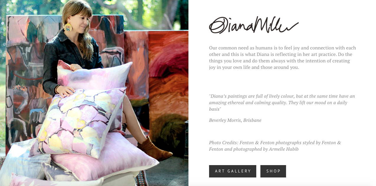 dianamiller.me - Australian based artistFeatures: Comprehensive E-Commerce, bespoke imagery