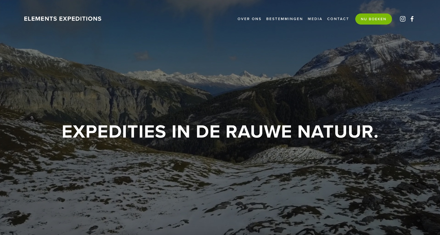 elements-expeditions.com - Amsterdam-based Psychologist Jaap Duin, founded this amazing tour company. Jaap has been taking men (and women!) out into nature for a couple of years now. Here people truly disconnect from their daily lives.Features: Background loop video (drone footage!), bold imagery and typography. Great blog too!