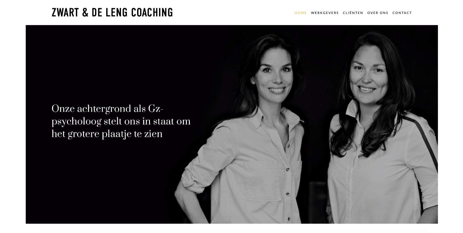 zwartendelengcoaching.nl - Two Dutch GZ Psychologists based out of Amsterdam have created a Coaching Practice, next to their regular practice.Features: Great copy, imagery and layout + style. Website is geared towards corporate companies and is short and to the point. All while maintaining a very professional look & feel.