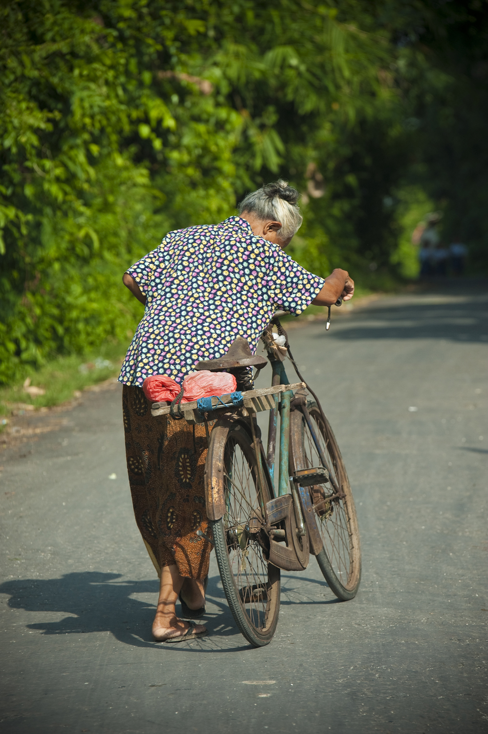 I also got a photo of this woman pushing her bike but prefered the 'fly on the wall' action photo. A longer lens has blurred the background to separate her from the trees.