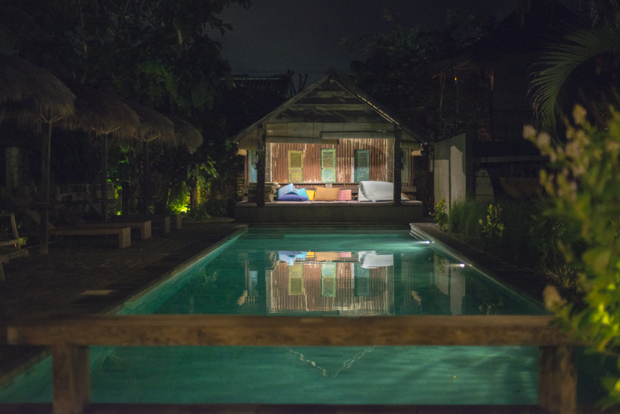 The Rapture pool at night