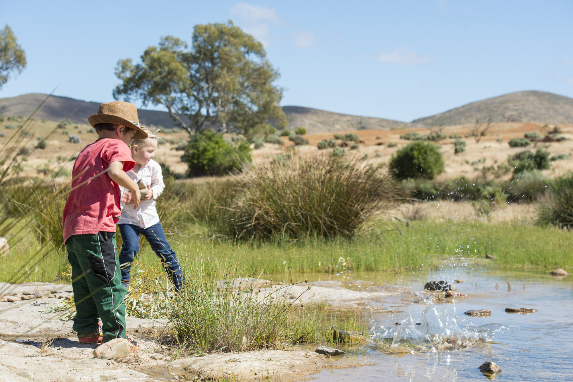 Family stays at an outback station. Kids having fun in the natural space. Nice weather, casual, safe, fun. That's what families would want to see if looking to go outback for some quality time together.
