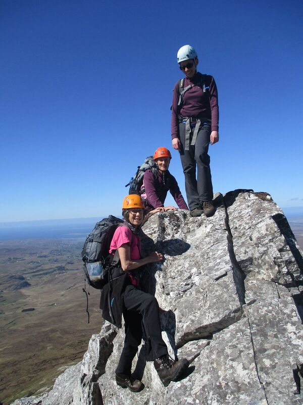 Errigal north ridge – Anne Marie Keoghan (Dublin), Nuala O'Malley (Mayo) and Laura Casey (Meath) reach a high point on the north ridge of Errigal, photo Colette Mahon..jpg