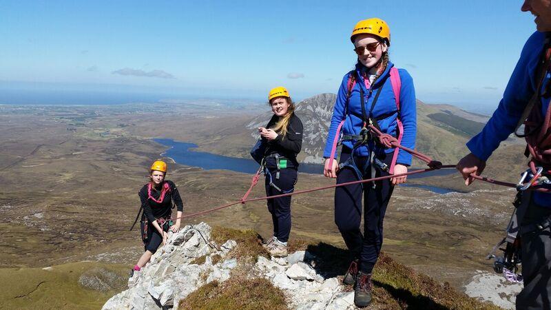 members of the Irish Girl Guides Senior Branch roped up for scrambling on the North Ridge of Errigal. Photo Anne McPartland.jpg