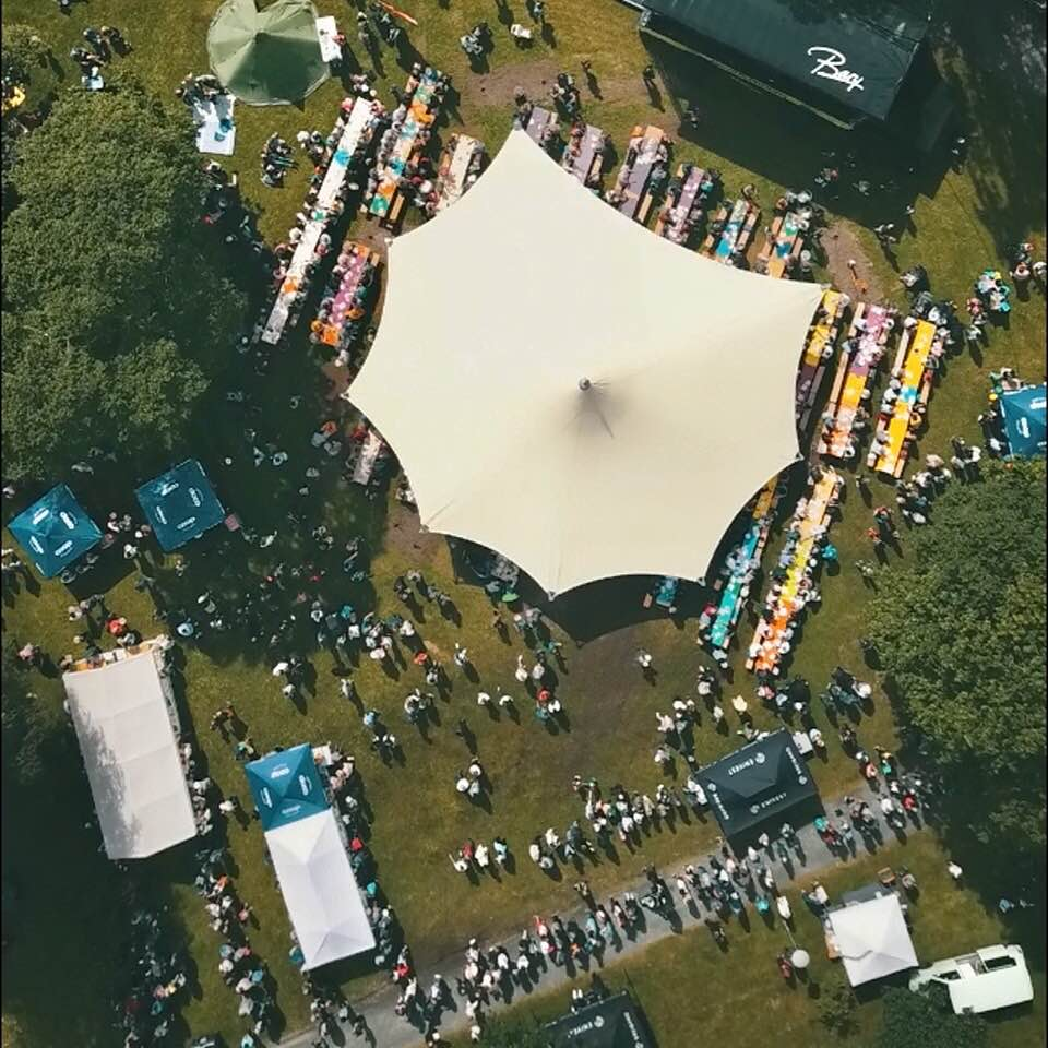 Festivalbrunsj-området sett frå lufta! Foto: Arve Ullebø