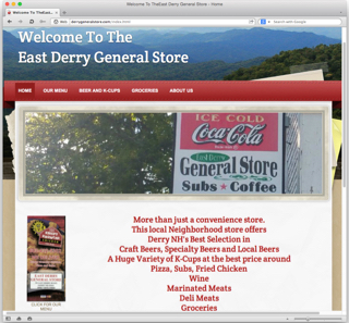 Visit the East Derry General Store's website to see their great Take-Out and Delivery menus, beer and coffee specialties, substantial grocery offerings, and more.