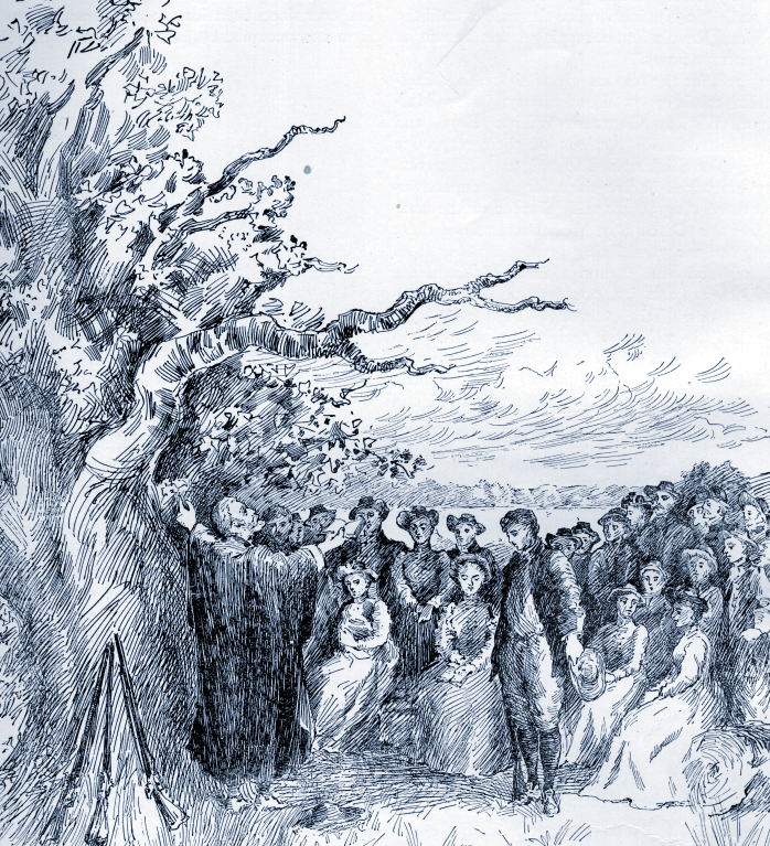 Depiction of the First Sermon on April 12, 1719, under an oak tree on the shore of Beaver Lake (from Willey's Book of Nutfield).