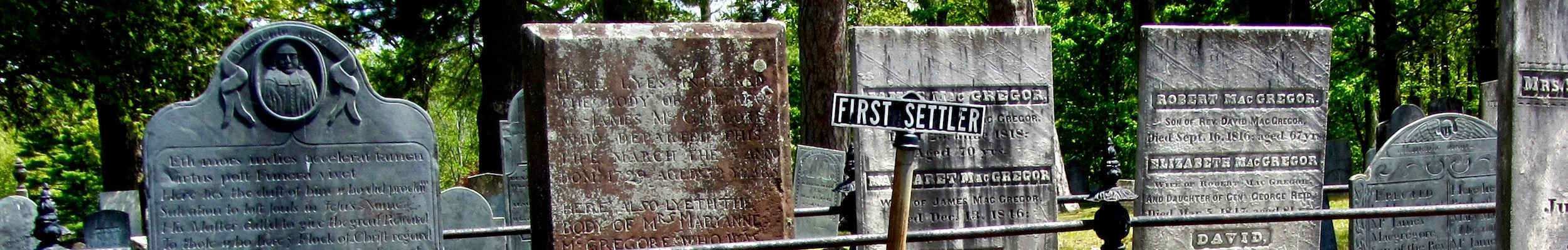 The First Settlers plot in Forest Hill Cemetery.