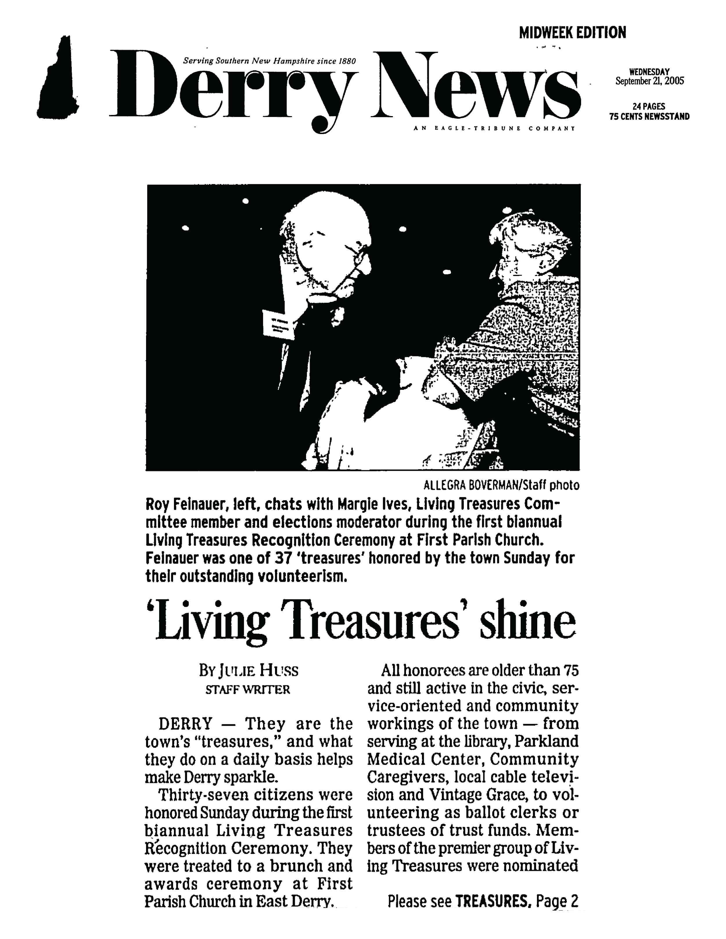 An article on the first Living Treasures Recognition Ceremony in 2005 ( click to download PDF ).