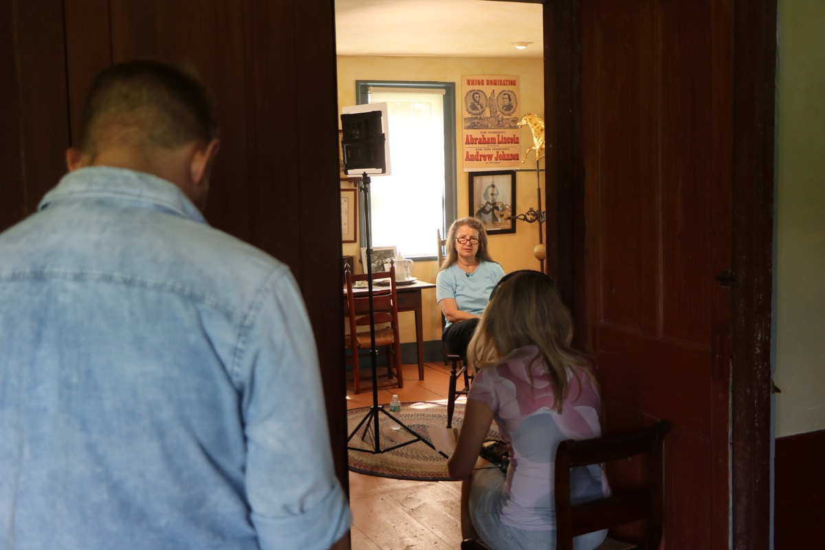 Ann Chiampa showed the crew around the Historical Society's extensive holdings, then sat for a filmed interview.