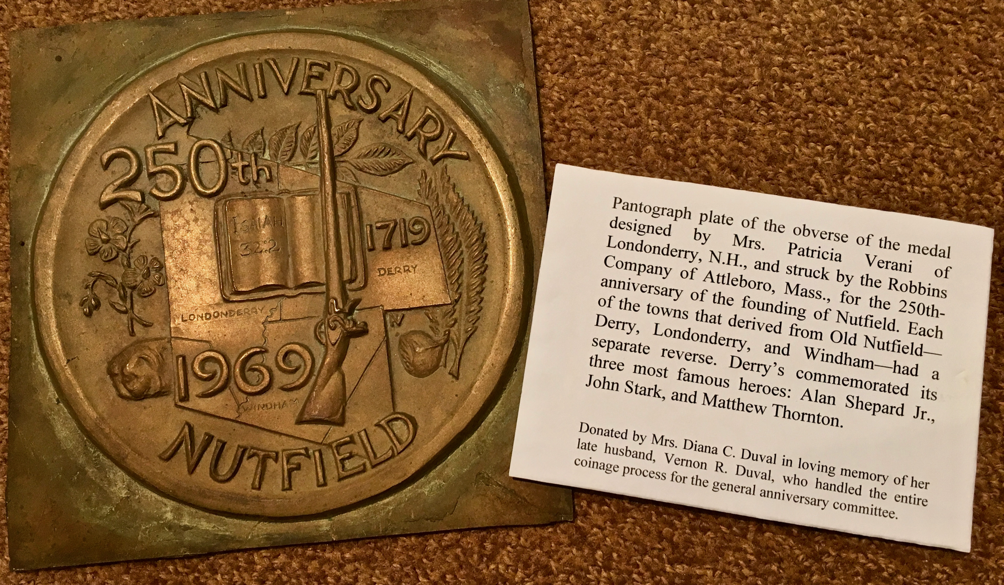 """This 8"""" pantograph plate was used by the medal minter to mechanically trace the 3D artwork design in smaller size to produce the medals. Courtesy of the Derry Museum of History."""