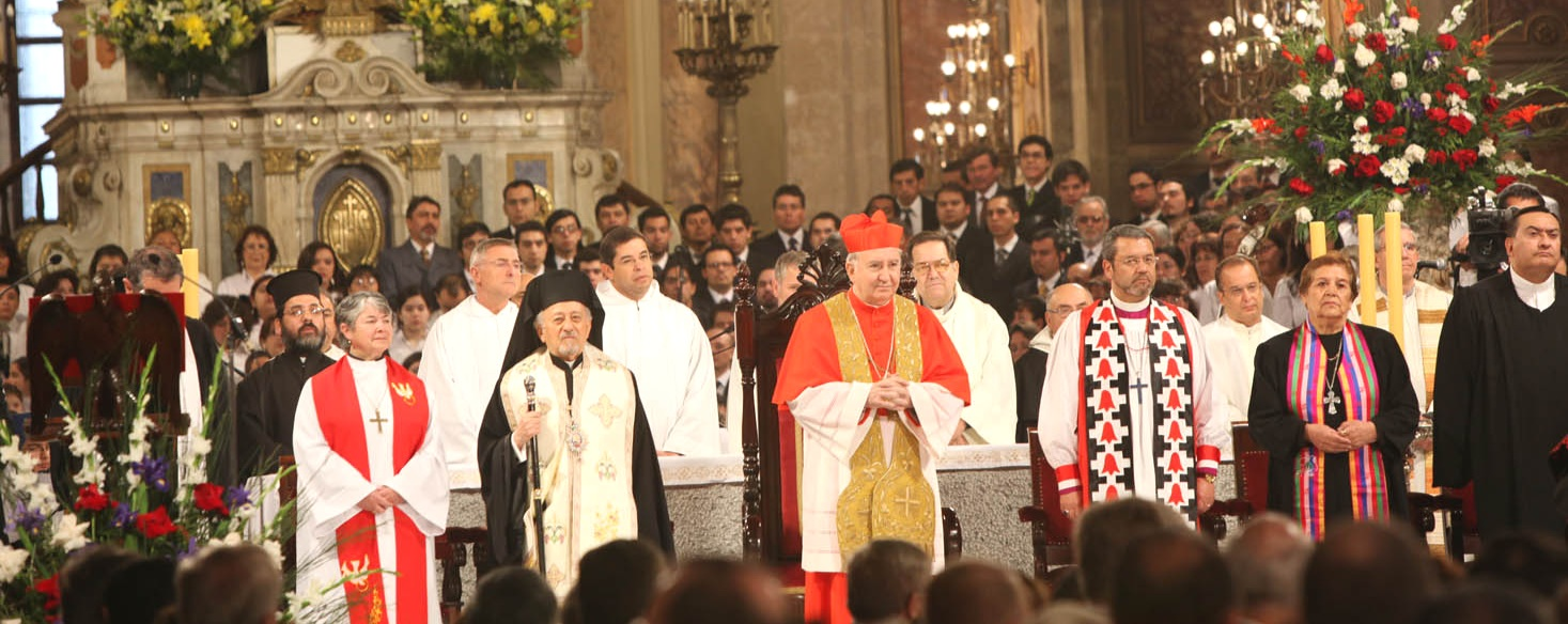 Te Deum Ecuménico 2009  in the  Santiago Metropolitan Cathedral , Chile. An ecumenical gathering of clergy from different denominations, from the Wikipedia article on Ecumenism (https://en.wikipedia.org/wiki/Ecumenism).