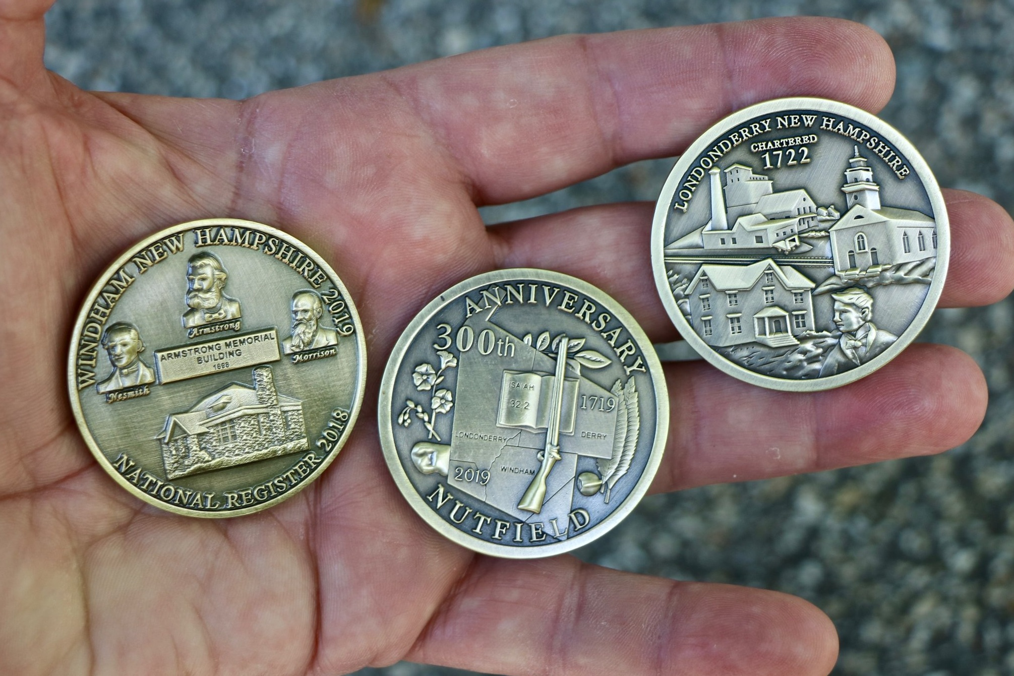Windham and Londonderry 300th coins will be available at Londonderry Old Home Day. (A Derry coin is coming soon.)