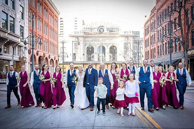 Dan and Kristin's crew were remarkably chill and easy going. They braved the cold and the cars for my favorite #weddingparty shots to date. #denverwedding #coloradoweddingphotographer #denverweddingphotographer #bridalparty #denver#oxfordhotel #winterwedding