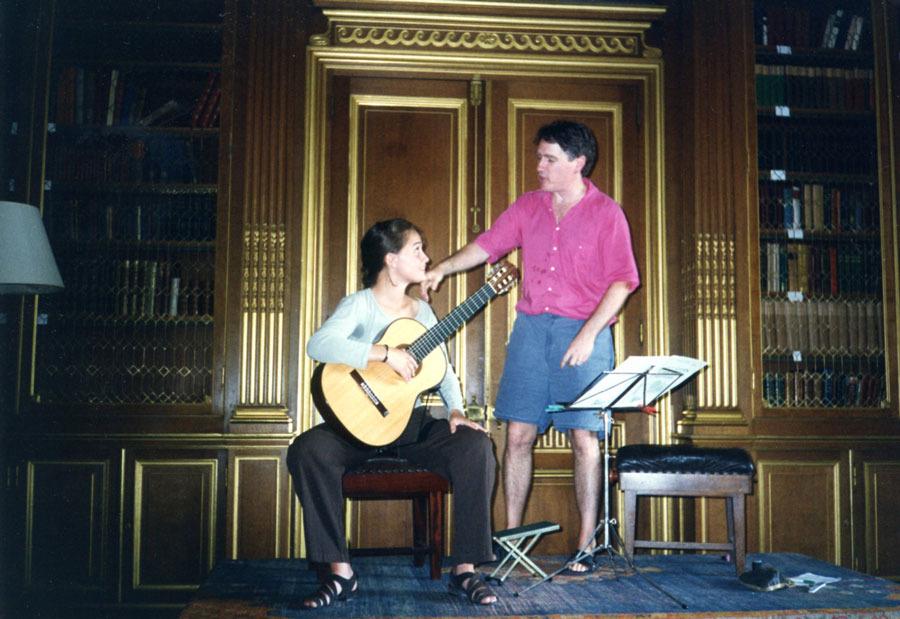 Ben teaching  Amanda Cook at the West Dean International Guitar Festival