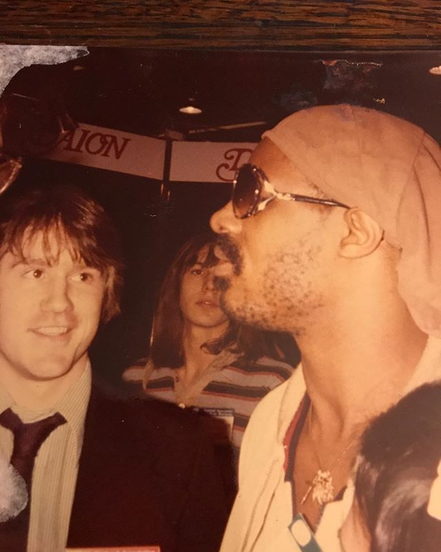 I just recently found this photo of me talking to one of all time musical heroes then, and now.  It was taken at a NAAM show when I was playing in the D'Addario booth(best strings ever!!!!) in the early eighties. Had to share! I know ....I haven't changed a bit!!!!! #guitar #daddario #steviewonder #musicalheroes #classicalguitar