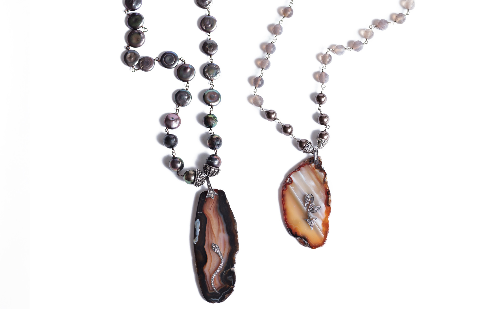 You might have liked our Facebook page or followed us on Instagram or Pinterest. If so, you may have seen our latest post featuring these fabulous diamond embellished agate necklaces!