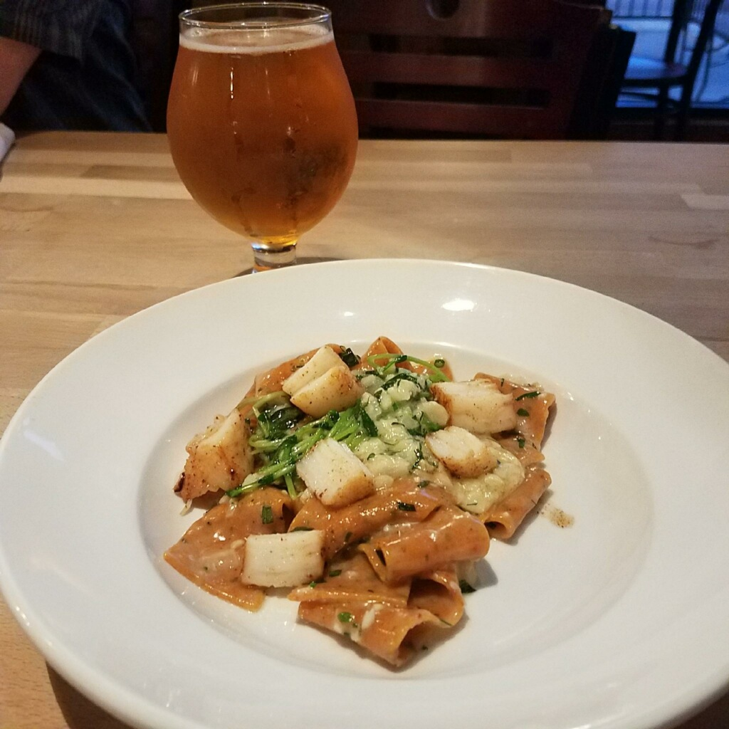 Course #2: Roasted Red Pepper Pappardelle with seared scallops and fines herbes beurre monté paired with Applewood Gold