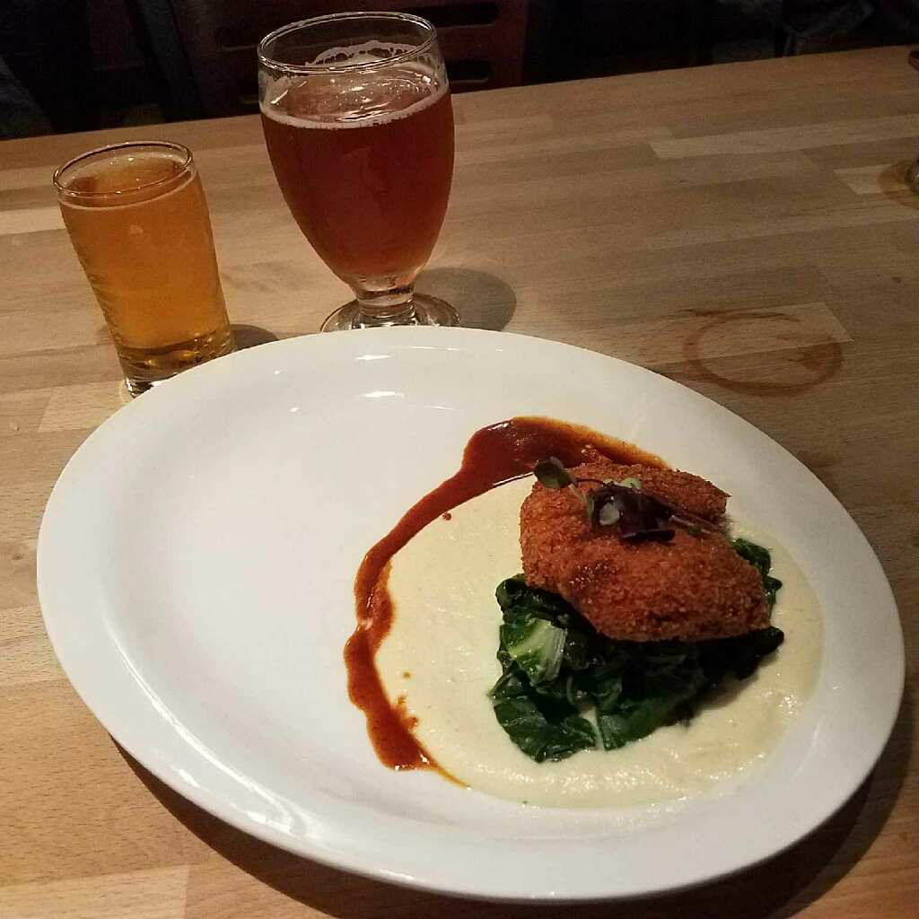 Course #4: Crispy Braised Pork Cheek with sautéed chard and celery root purée paired with Applewood Gold and Sliced Nectarine IPA