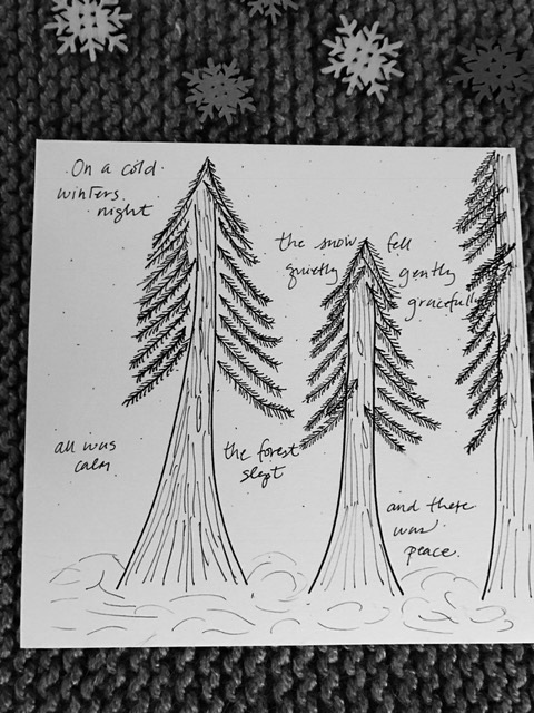 Here's my doodle from yesterday... Ponderosa Pines from the Payette National Forest near McCall, ID