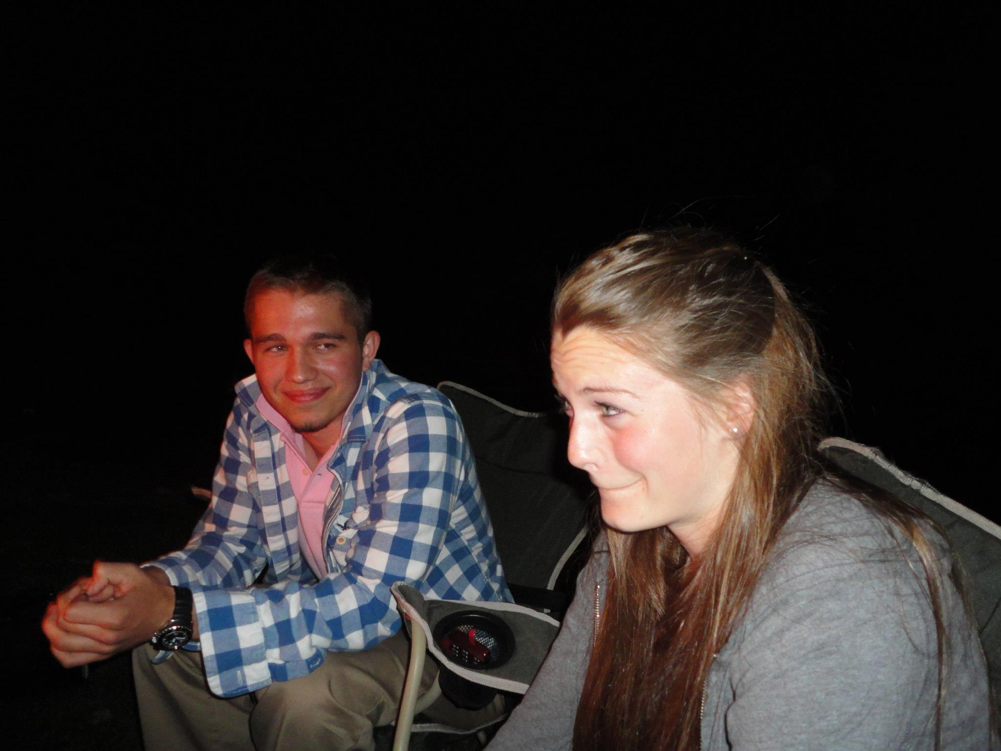 B and I at a bonfire before we were dating, just hanging out.