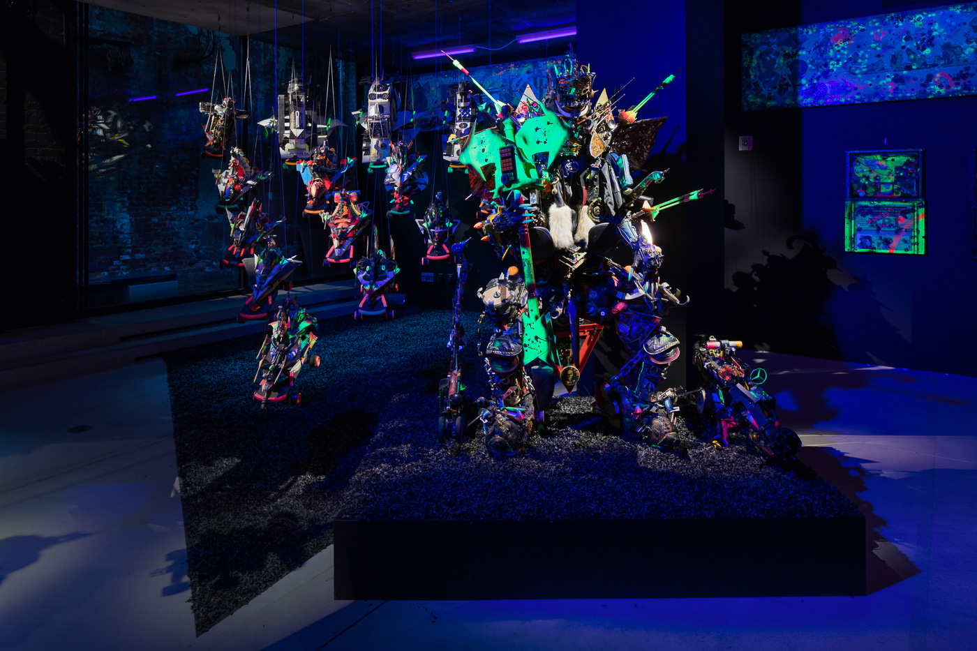Photo: Lance Brewer. Exhibition view of RAMMELLZEE: Racing For Thunder. Courtesy of Red Bull Arts New York. All artwork © 2018 The Rammellzee Estate