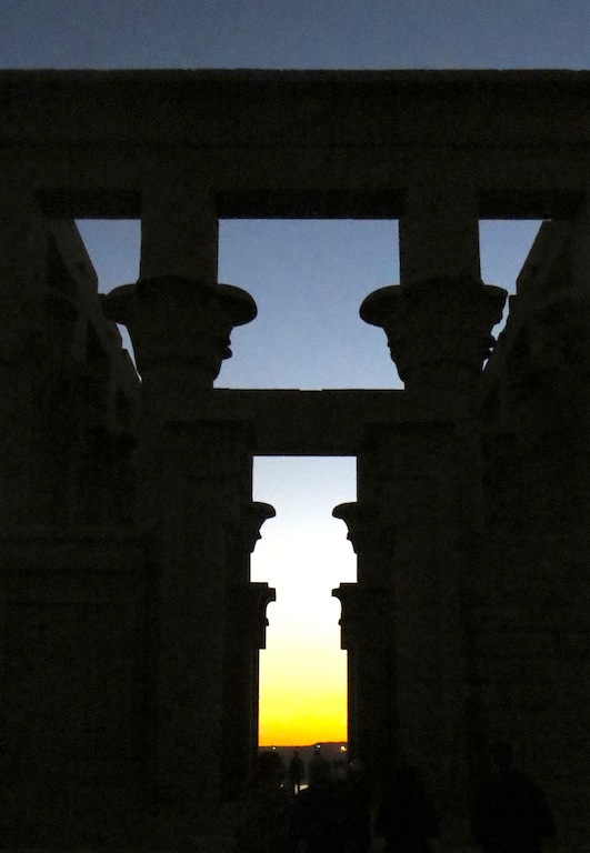Sunrise at the temle of isis in egypt