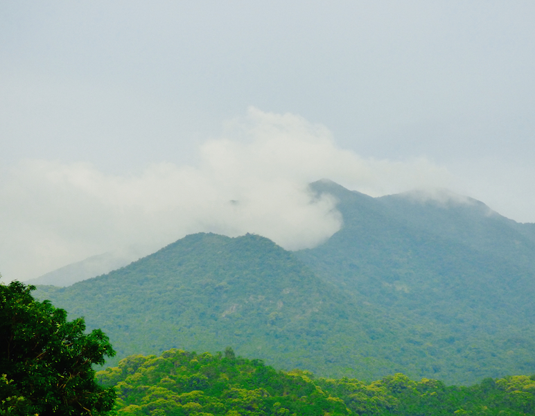 Wutong Shan (Mountan) as seen from the village. the mountain is a popular area to walk through