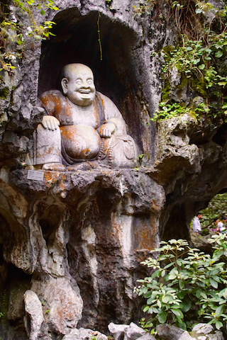 """Carving at """"Peak flown from afar"""" next to Lingyin Temple in hangzhou."""