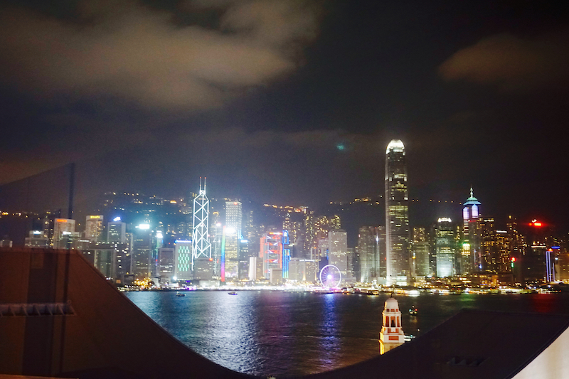 Hong Kong Skyline from harbor view room at the Salisbury Y.