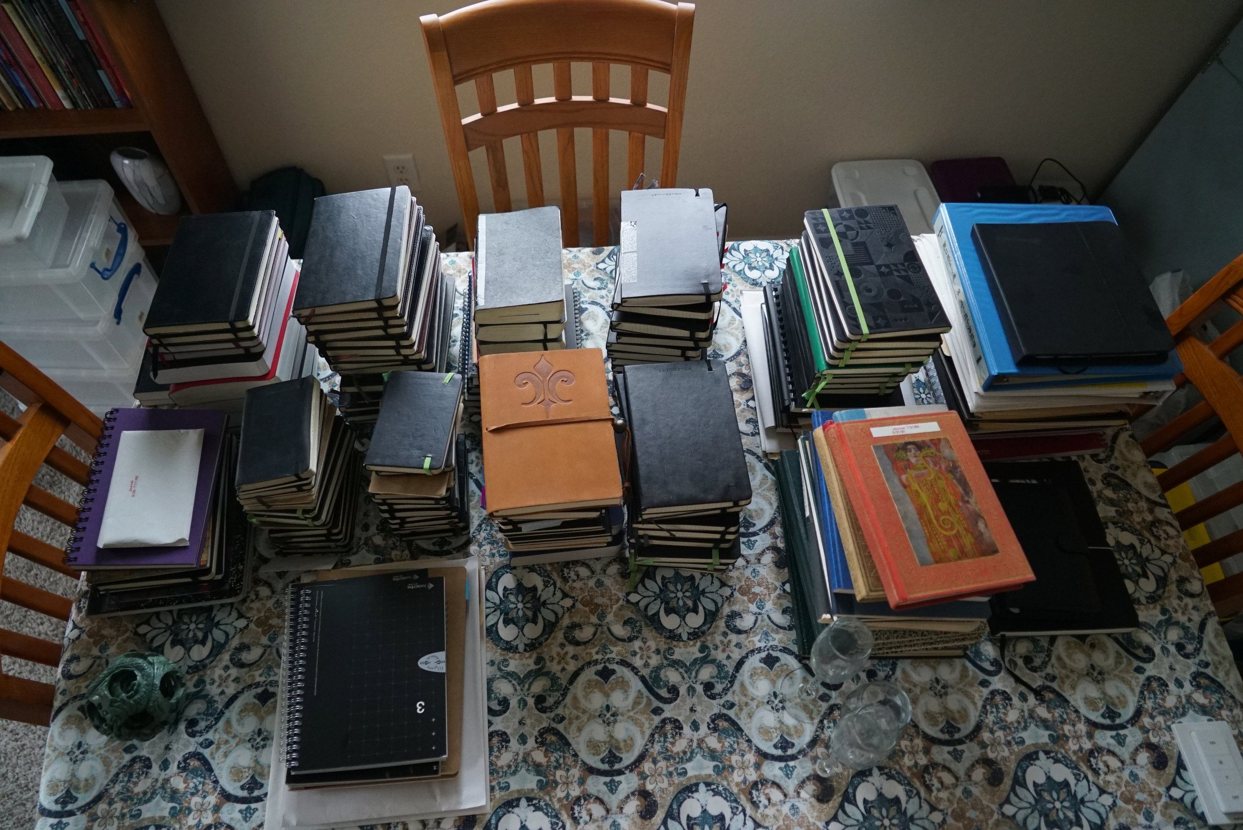 This pile of journals spans from 1971 to 2019. In the 1990's, I used the Franklin Panner system as journal/planners, and the 3 boxes of those journals are not included here. I already tossed them out.