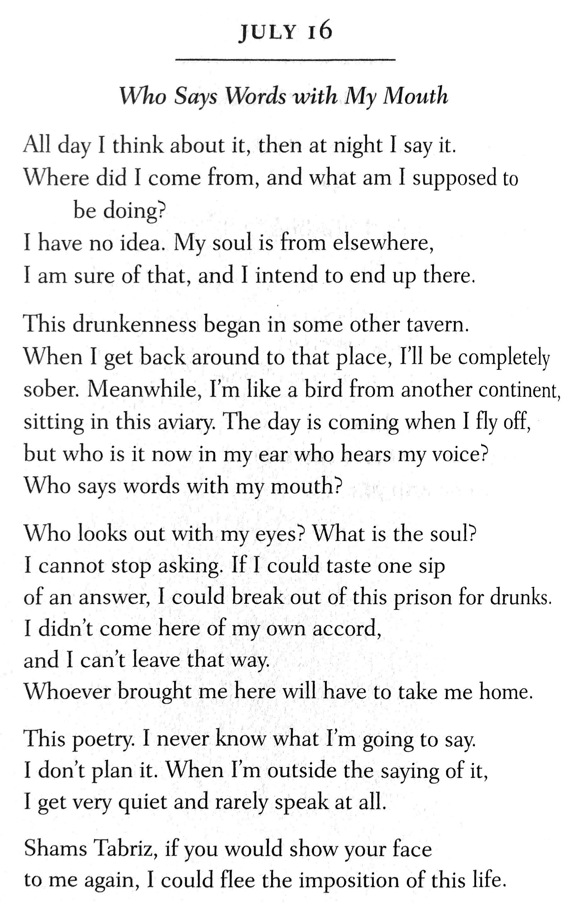 """From Daily Readings of """"a Year With Rumi;"""" translations by Coleman Banks"""