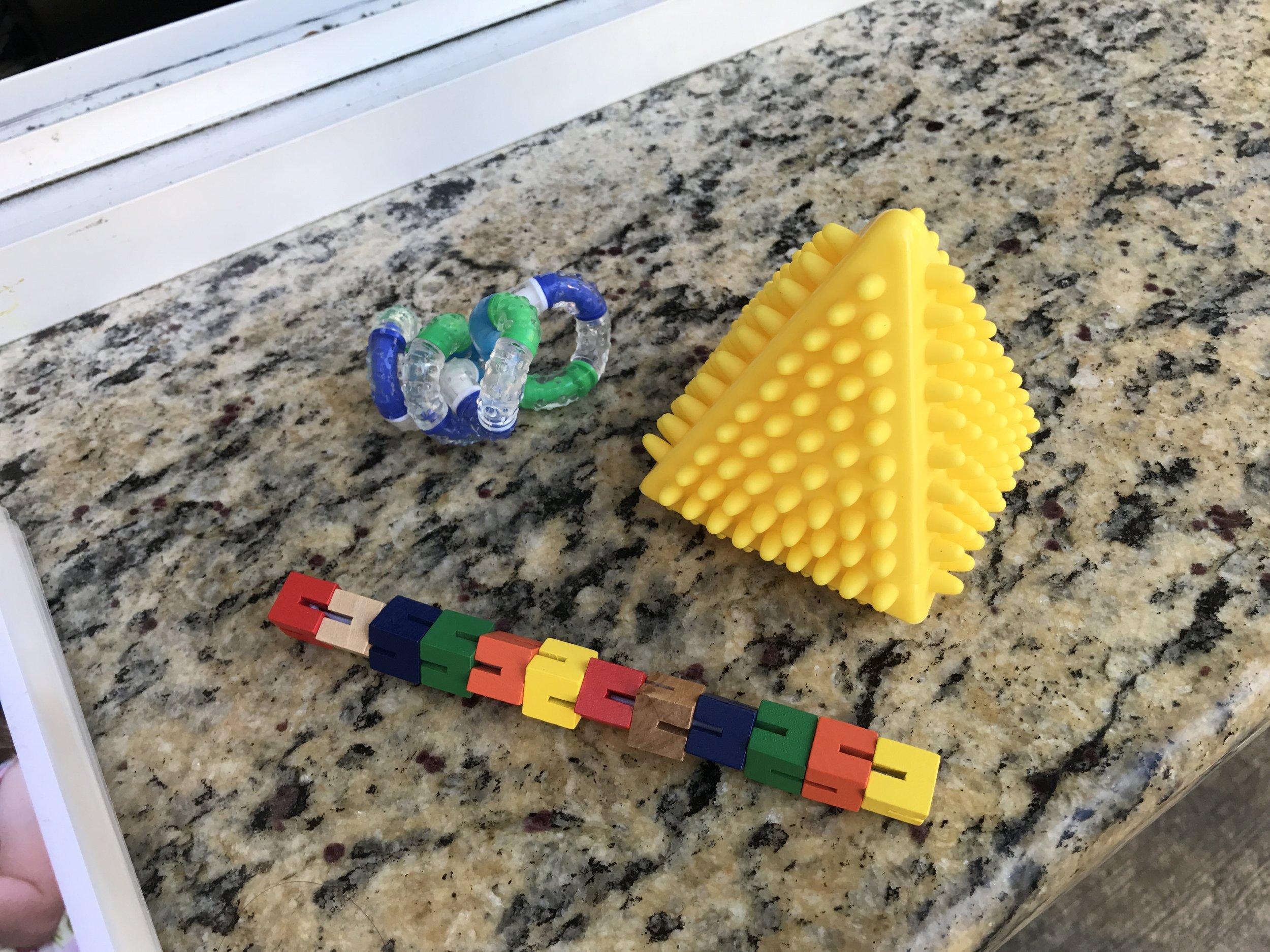 A selection of fidget toys to borrow
