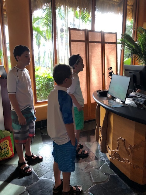 Checking in at Discovery Cove