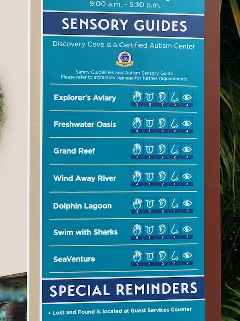 A Sensory Guide showing sensory levels for each attraction at Discovery Cove