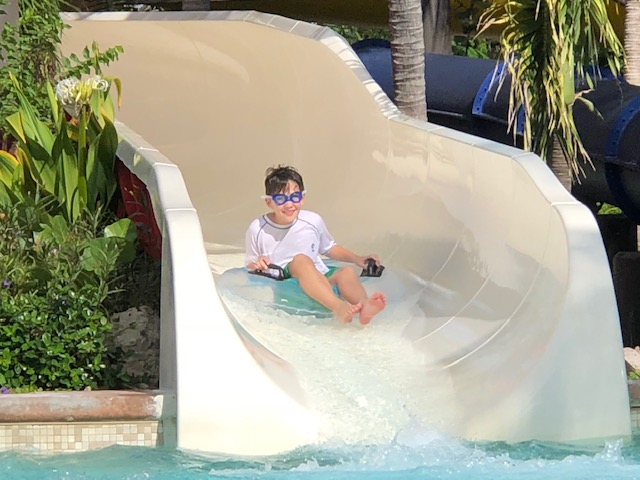 Enjoying the water slides