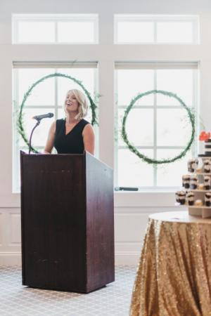 Clubhouse at Baywood Director of Events Sarah Dickinson welcomes attendees to the Delaware Perfect Wedding Guide spring luncheon. Maria DeForrest PHOTO