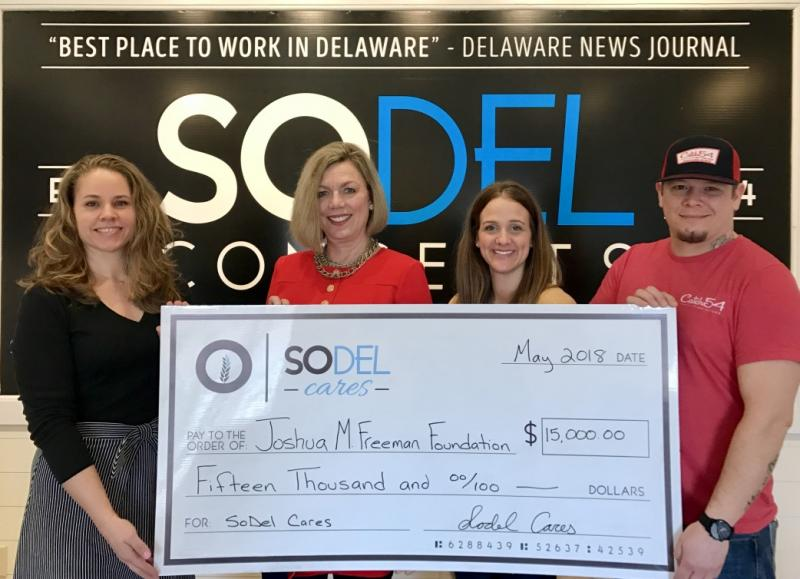 SoDel Cares presented a $15,000 check to the Joshua M. Freeman Foundation, which operates The Freeman Stage in Selbyville. Shown are (l-r) Lindsey Barry, SoDel Cares president; Patti Grimes, executive director, Carl M. Freeman Foundation and Joshua M. Freeman Foundation; Julie Hemp, general manager of Catch 54 in Fenwick Island; and Charles Armstrong, executive chef at Catch 54. SUBMITTED PHOTO