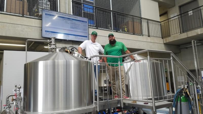 Touring the German company BrauKon, which made the equipment for Thompson Island Brewing Company in Rehoboth Beach are Matt Patton, left, and Jimmy Valm. SUBMITTED PHOTOS