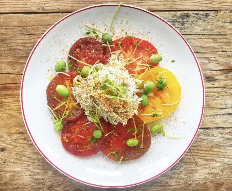 For August, SoDel Concepts is highlighting local produce at its 11 restaurants. Catch 54 in Fenwick Island has offered heirloom tomatoes topped with crab salad.