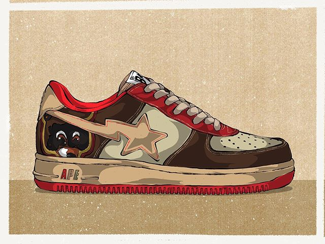 In 2007, Kanye and Nigo worked together to bring the Kanye West x Bape 'Dropout Bear' Bapesta Sneaker into the world. This was the first ever collaboration for Ye. I absolutely love this sneaker, immediately brings me back to hs and how I used to blast College Dropout in the school parking lot 👏🔥👏🔥
