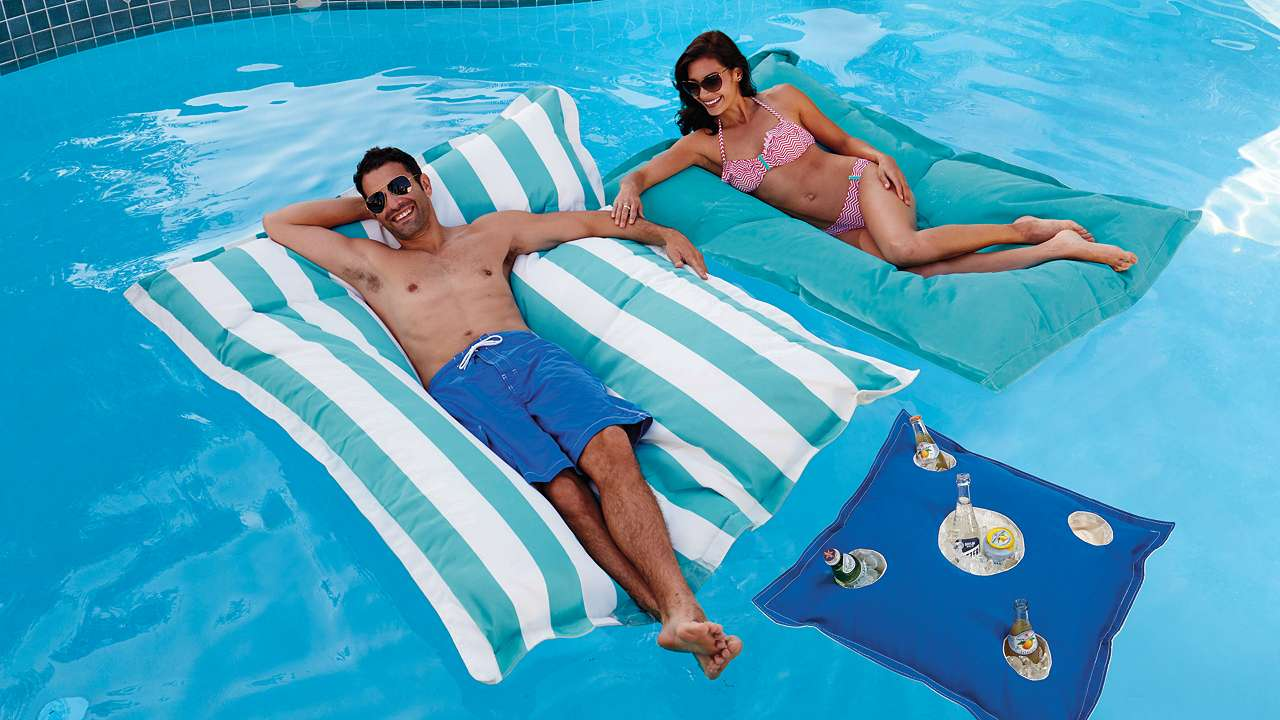 Floating Bean Bags   There is no better way to relax in a pool, than by floating on a huge, cushioned beanbag. This float has features you can't find anywhere else.