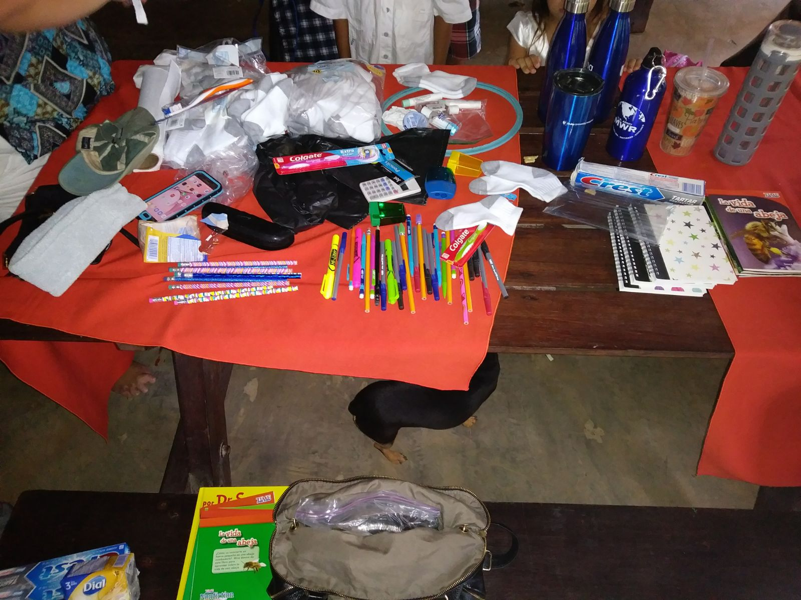 Donated school supplies from LiveGlobally 2017 for drake bay enrichment program in Costa Rica