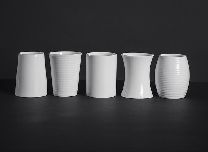 Bone china beakers.