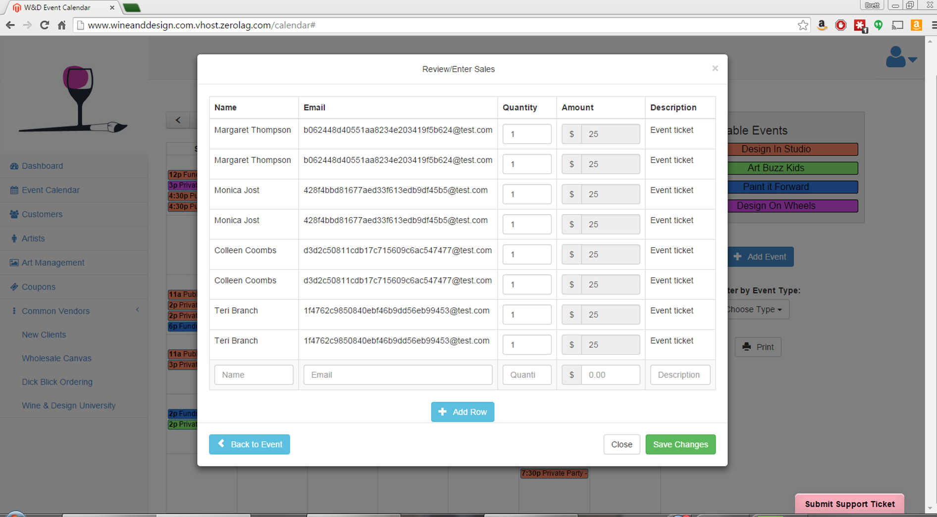 this view is a great way to quickly view the amount of sales a single event generated.