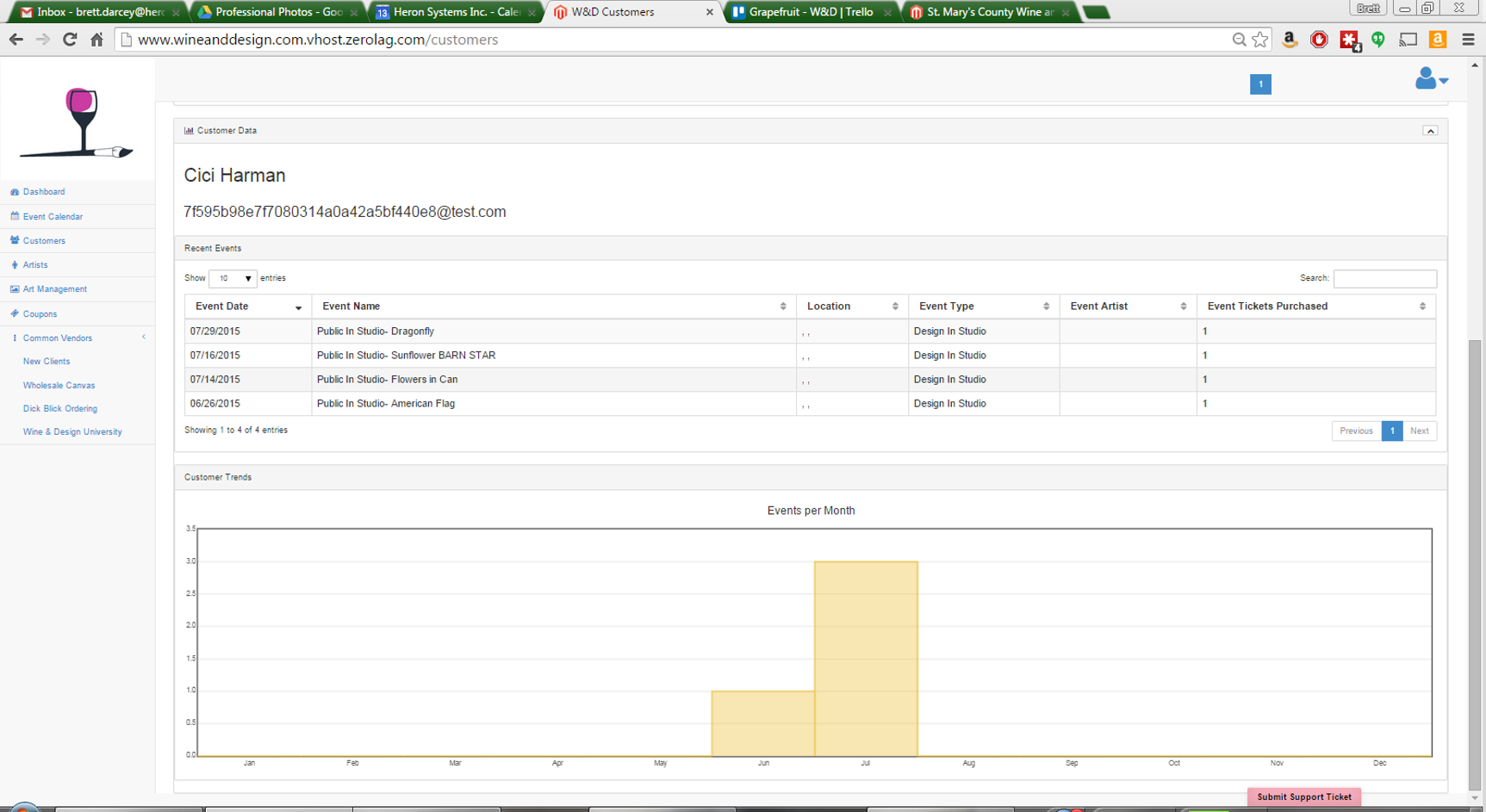 Customer data view. note that we are zoomed out to allow you to see everything in one screenshot.